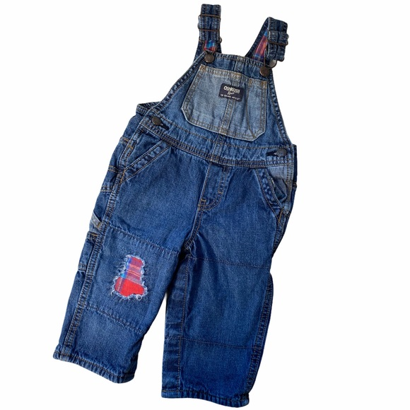🍁3/20 Oshkosh LINED patchwork overalls 12months
